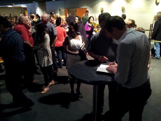 The line up to sign books