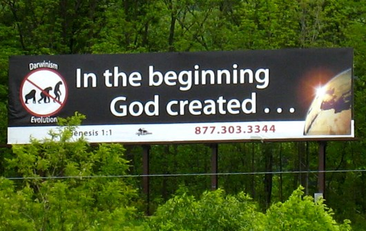 Anti-evolution billboard