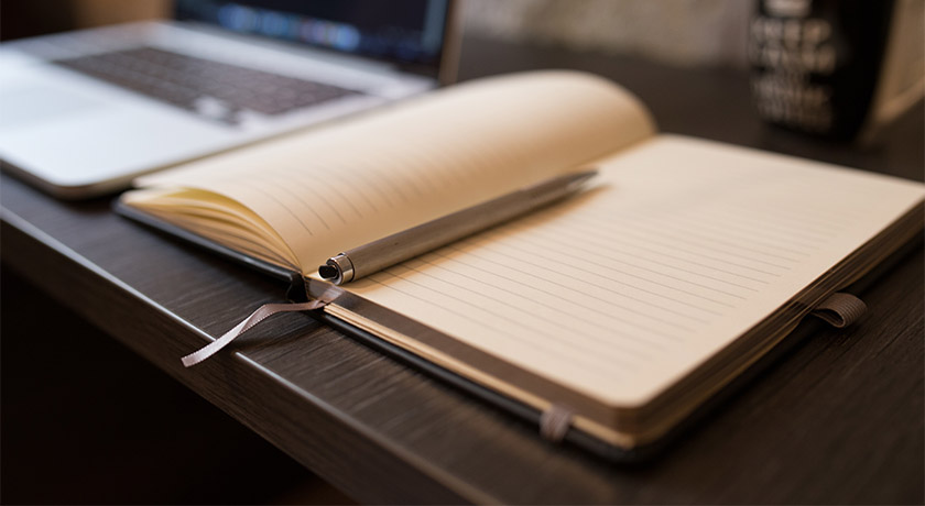 Open journal on a desk