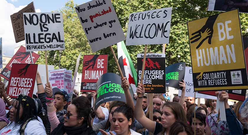 'Refugees Welcome here' protest