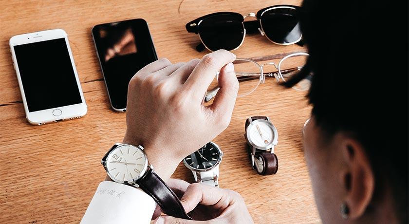 Man choosing a watch