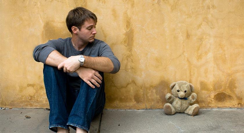 Man with teddybear, by Brent