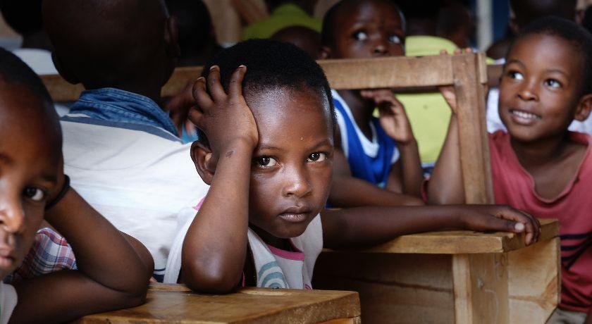 African children in a school
